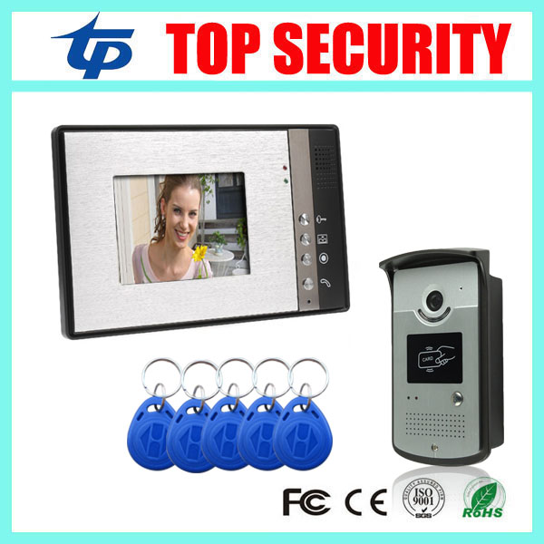 Wired 125KHZ RFID card smart card access control reader door control system 7 inch video door phone villa vide intercom bell 7 inch password id card video door phone home access control system wired video intercome door bell
