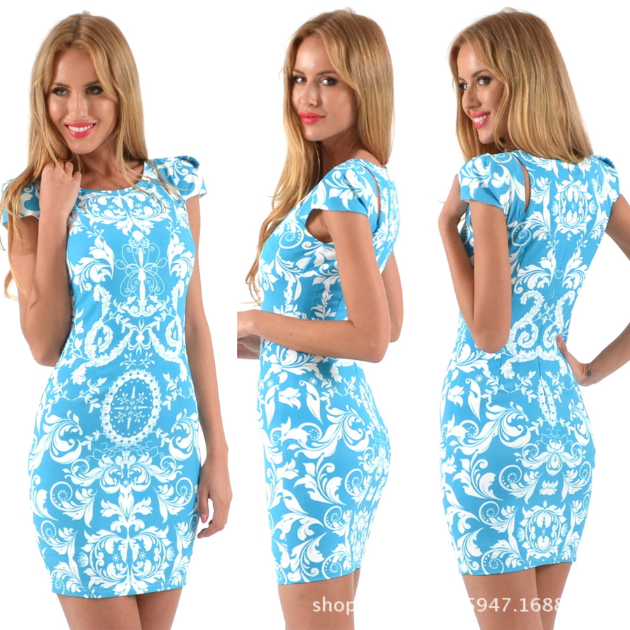 2016 new fashion tee printing package hip dress aliexpress Amazon explosion