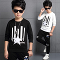 2017 Spring fall fashionable classic children's leisure suit boy five-pointed star striped letters sweater two-piece se