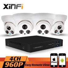 Xinfi 4CH HDMI 960 P HD Home Security Camera kit CCTV sistema de puerta resistente a la intemperie cámara domo IP en tiempo Real de grabación p2p, onvif