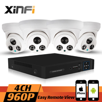 XINFI 4CH HDMI 960P HD Home Security Camera System CCTV Kit In Door Weatherproof Dome IP