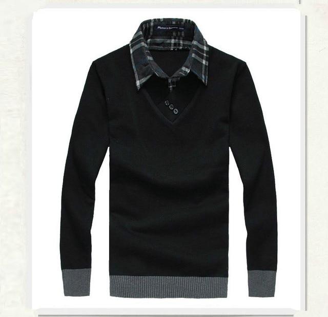 2019 الخريف الشتاء الرجال سترة وهمية اثنين قميص طوق سترة الذكور لباس غير رسمي تريكو سترة الرجال