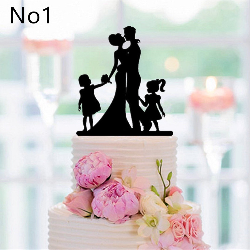 Online Shop New Family Style Cake Topper Silhouette Wedding Bride And Groom Couple Anniversary Decor
