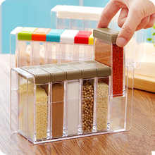 Split combination six rectangular grid spices seasoning box  a transparent plastic storage rectangle