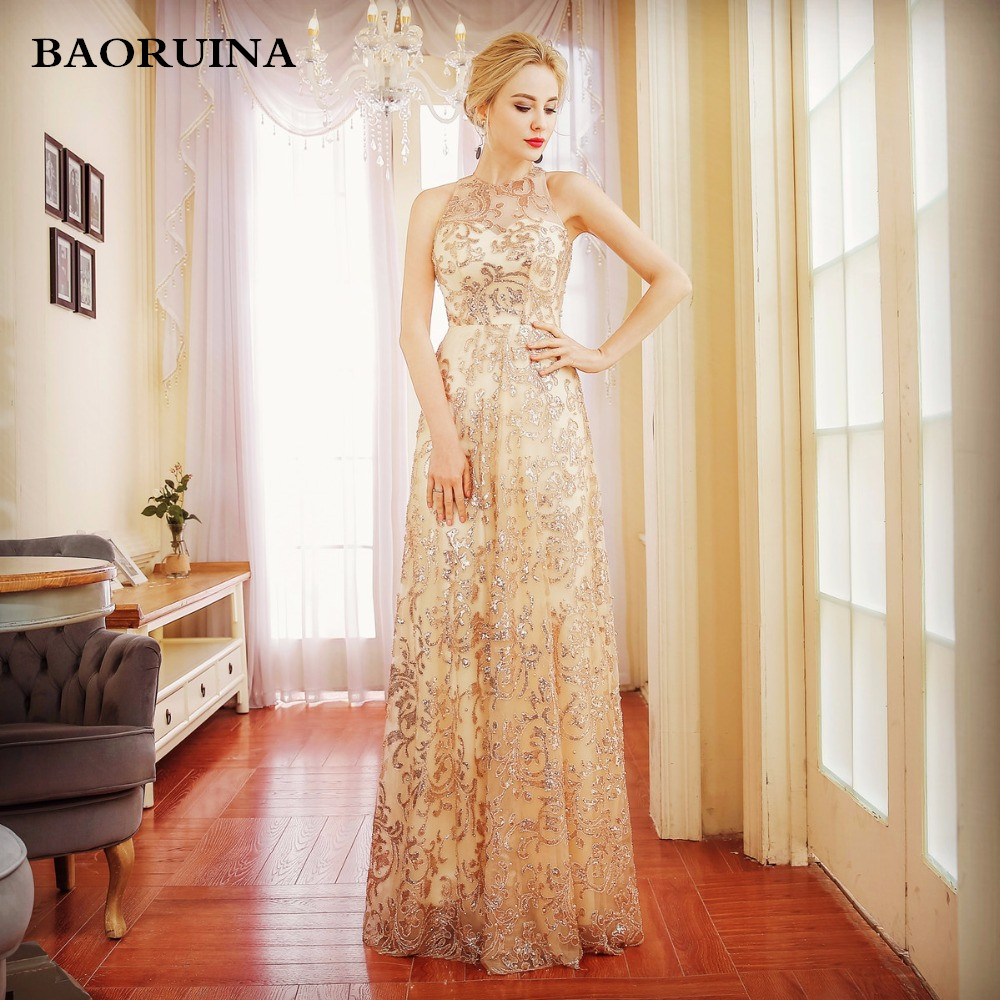 Discount Evening Gowns: Luxury Gold Silver Long Sequin Evening Dress Champagne