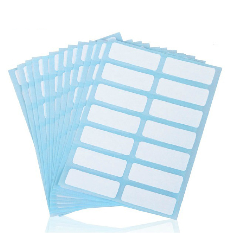 13x38mm 12 Sheets/pack Paper Self Adhesive Sticky White Label Writable Name Stickers Blank Note Label Bar DIY Notebook