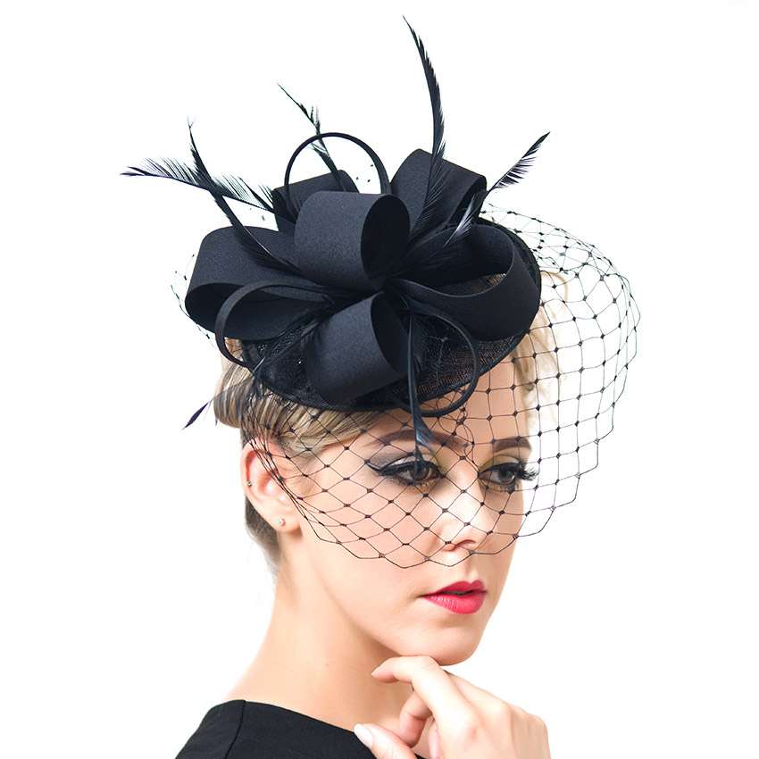 ShanFu Women Fancy Feather Fascinator Hats Black Birdcage Veil Wedding Hats and Fascinators White Net Hair Accessories