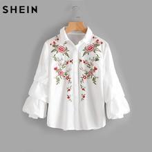 Шеин Многоуровневое епископ рукава с цветочной вышивкой блузка белого мода Блузки для малышек Осенняя футболка с лацканами Блузка с длинными рукавами