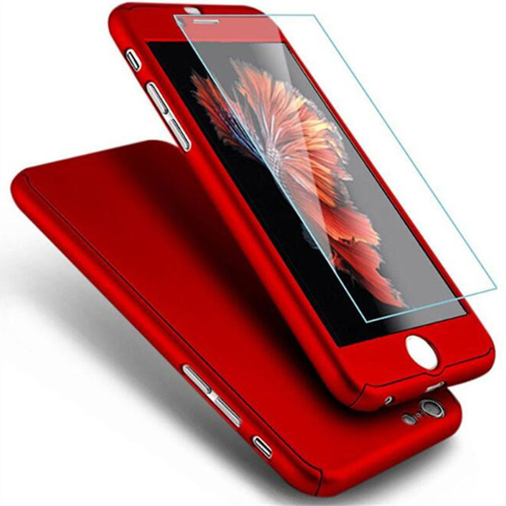 New Case For iPhone 6 Plus 6s 7 7plus Matte Skin Case Anti Knock PU Cover Shell With Screen Protector Tempered Glass P2 #1