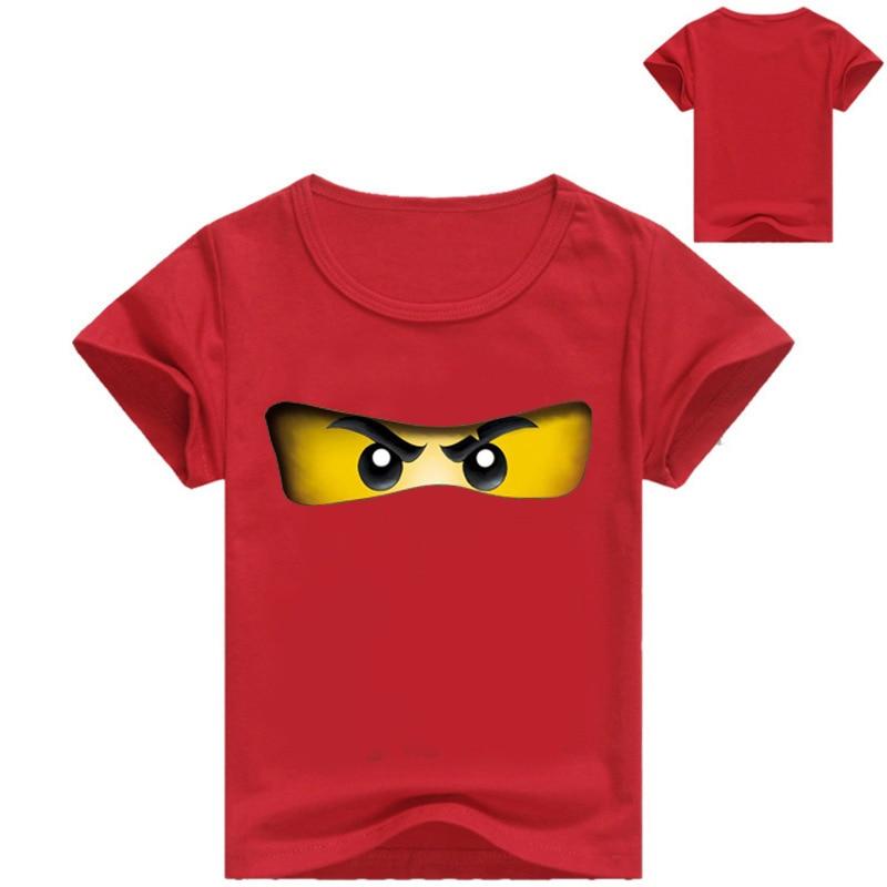 3-16Years 2018 Boys T Shirt Legoes T-shirt Baby Ninjago Boy Tshirt Short Sleeves Children Summer Clothes Toddler Boy Shirts navy crossed front design v neck short stripe sleeves t shirt