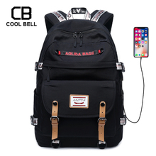 New Solid Color Nylon Waterproof Women Backpack Sports Casual Men USB Charge Laptop Bag School Backpack For Teenage Students Bag