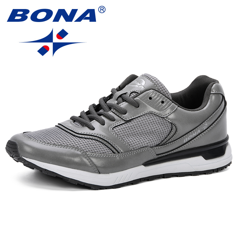 BONA Men Shoes 2019 New Man Casual Shoes Fashionl Men Sneakers Lace up Men Vulcanize Shoes