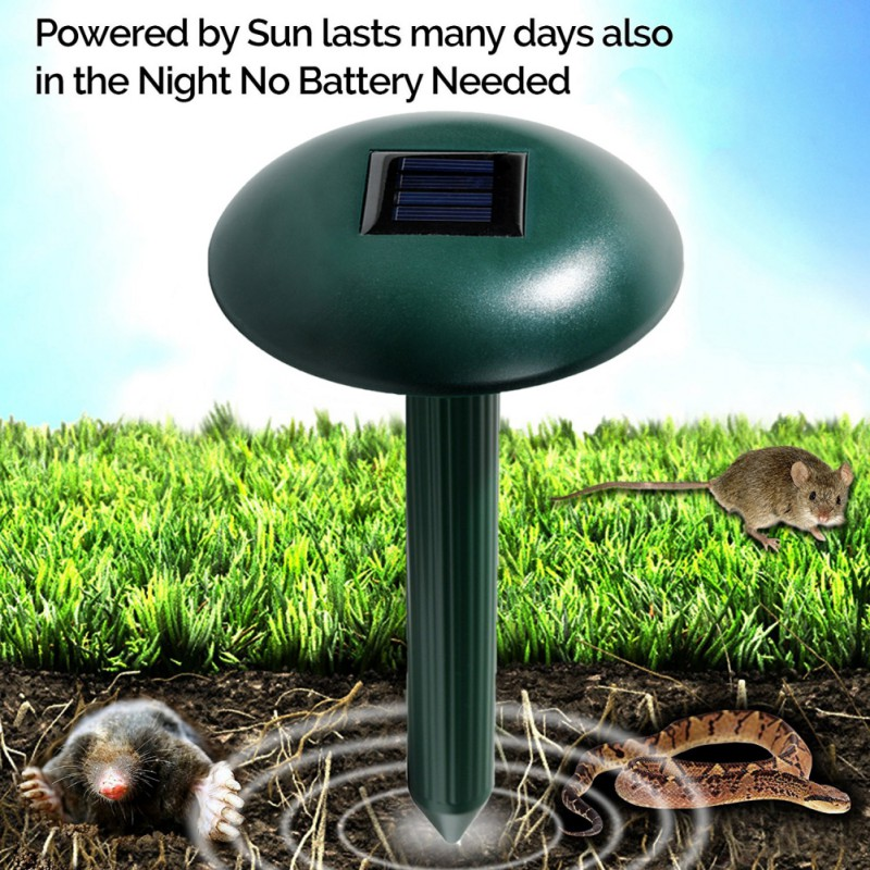 2pcs Solar Powered Mole Repeller with LED - Sonic Pest Repellent Stake, Scares away Moles, Voles, Gophers and Rats2018 New
