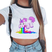 Women T-Shirt Rainbow Unicorn Casual Crop Top Licorne Cute Short Sleeve Cartoon Unicornio 2017 Summer Tshirt New(China)