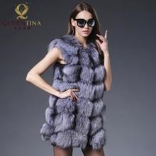 Real Fox Fur Vests Women 2018 New Updated Style Genuine Fox Fur Coat Gilet Long Jacket Winter Russian Natural Fox Fur Coats Vest