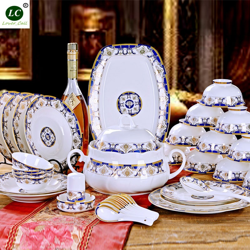 free shipping dinnerware set MICROWAVE USE 56pcs ceramic plates  bowls dishes spoons set high quality tableware kitchenware