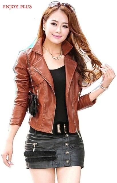 ENJOY PLUS 8%OFF chest 84-108cm 2016 faux pu leather jacket women plus size brown black motorcycle jaqueta de couro lady S- 4XL