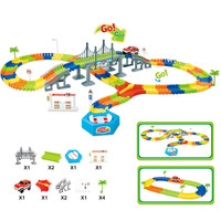 192pcs Slot Glow In The Dark Glow Race Track Create A Road Bend Flexible Tracks With