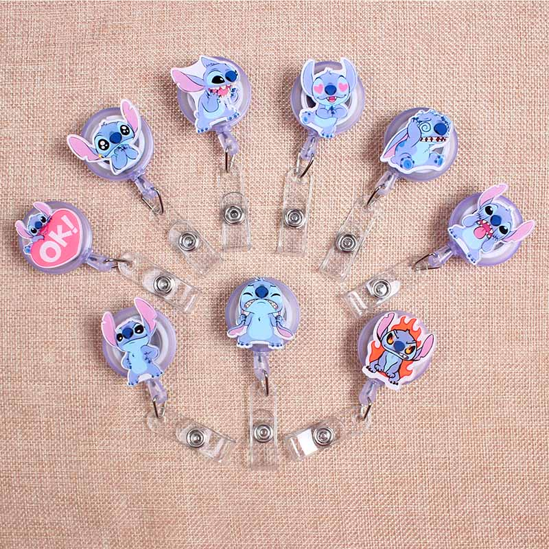 Cartoon PVC Blue Mouse Boys & Girls Clown Retractable Creative Badge Card Holder Reel Nurse Exhibition Enfermera Name Card Chest