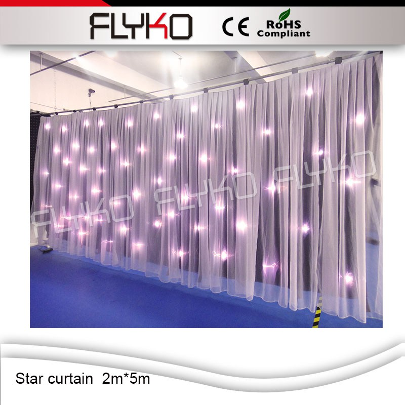 ,High Quality 2M*5M DMX BW Led Star Curtain,Sound Activated DJ Backdrops,LED Star Cloth for Wedding Decoration