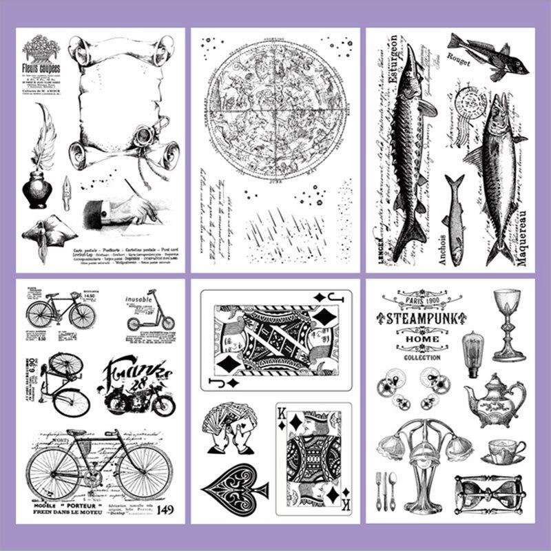 Vintage bike transparent silicone clear Stamp for scrapbooking DIY decoration stamp photo album card stamps kids stationery