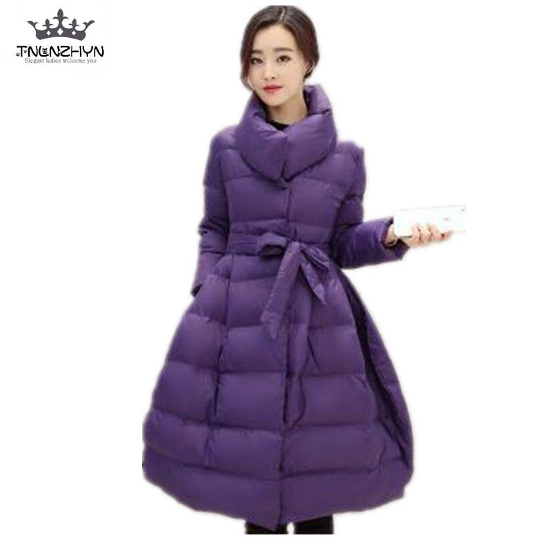 2017 New Winter Fashion Down Cotton Parkas Women Slim Belt Thicken Wadded Jacket Stand-Collar Warm Long Cotton Coat Parkas A1449