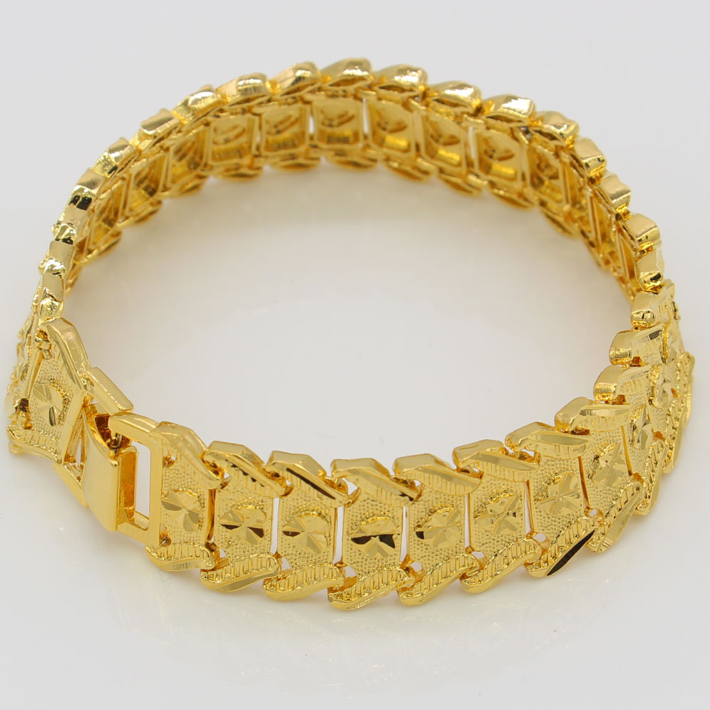 New Mens Bracelet 24K Gold Color Width 21cm 16mm Hiphop Chain Bracelet Ethiopian/African/Arab Jewelry ...