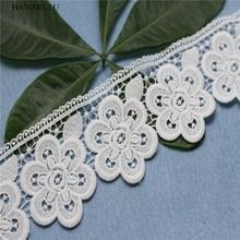HAWARULU 2yard DIY White milk curtains lace on the grid for sewing crafts accessories trim fabric strips wedding