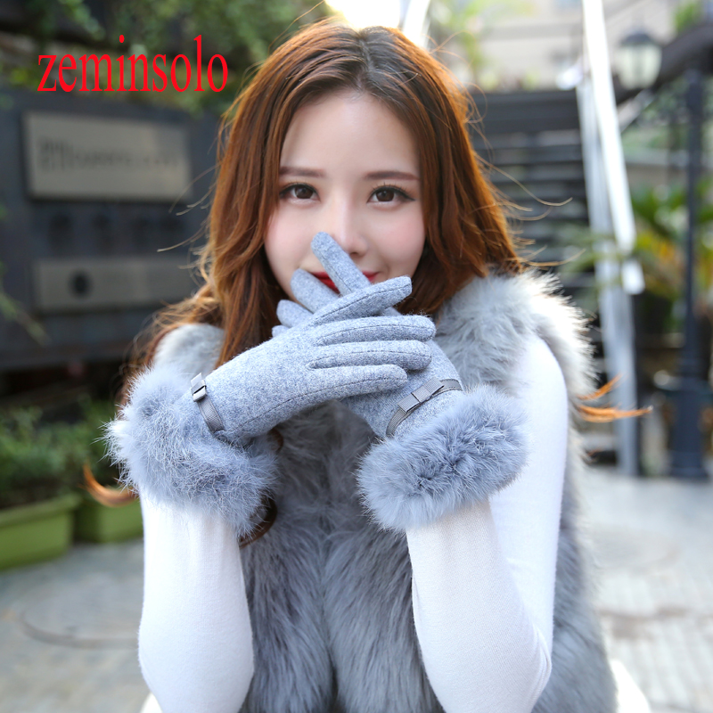 Winter Wrist Ladies Cashmere Gloves For Touch Screen Female Rabbit Fur Wool Mittens Gloves Sweet Elegant All Match Women Gloves