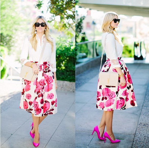 Aliexpress.com : Buy A Line Midi Skirt Saias Vintage 50s Pinup New ...
