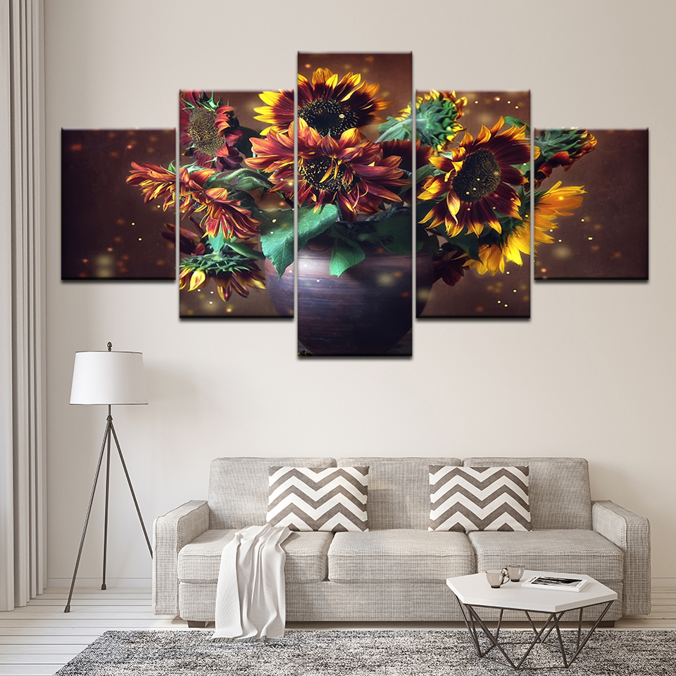 Canvas Prints Wall Art Pictures living room 5 panel sunflower scenery Paintings for bedroom wall Poster home decoration artwork