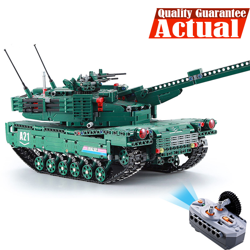 Remote Control Block Tank with Motor Building Bricks Compatible legoingly Military War M1A2 1498PCS DIY Enlighten Toys for boys free shipping wall element 1x6x5 abs diy enlighten block bricks compatible with lego assembles particles