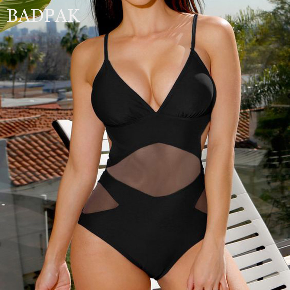 BADPAK Solid Monokini Bandage One Piece Swimsuit Mesh Bathing Suit Deep V Swimwear Women Sexy High Waist Maillot De Bain Femme neck cervical traction collar device brace support hard plastic for headache neck pain hight adjustable one size fit most