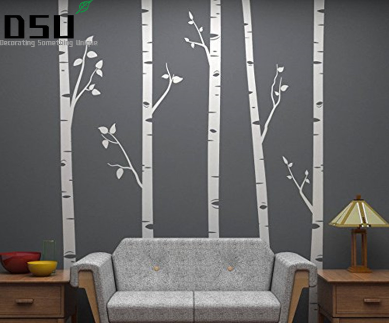 244cm tall 5 Birch Trees With Branches Huge Size Wall Stickers for Kids Room Nursery Wall Decals Customize Color 641 Wallpaper