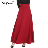 SIMPVALE High Waist Pleated Elegant Skirt Women Wine Red Black Solid Long Skirts A Line Faldas