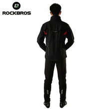 купить ROCKBROS Winter Thermal Fleece Cycling Clothing Cycling Jersey Sets Windproof Riding Bicycle Reflective Jacket Sportswear Pants дешево