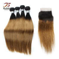 Ombre Malaysian Hair Weave Bundles T 1B 30 Two Tone Straight Human Hair Extensions 4 Bundles With Closure BOBBI COLLECTION