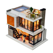 DIY Model Doll House Casa Miniature Dollhouse with Furnitures LED 3D Wooden House Toys For Children Gift Handmade Crafts