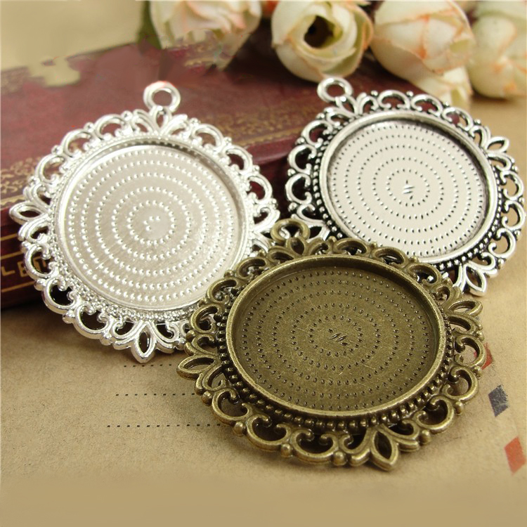 6pcs  Necklace Pendants Setting Cabochon Cameo Base Tray Bezel Blank Fit 25mm Cabochons Jewelry Making Findings