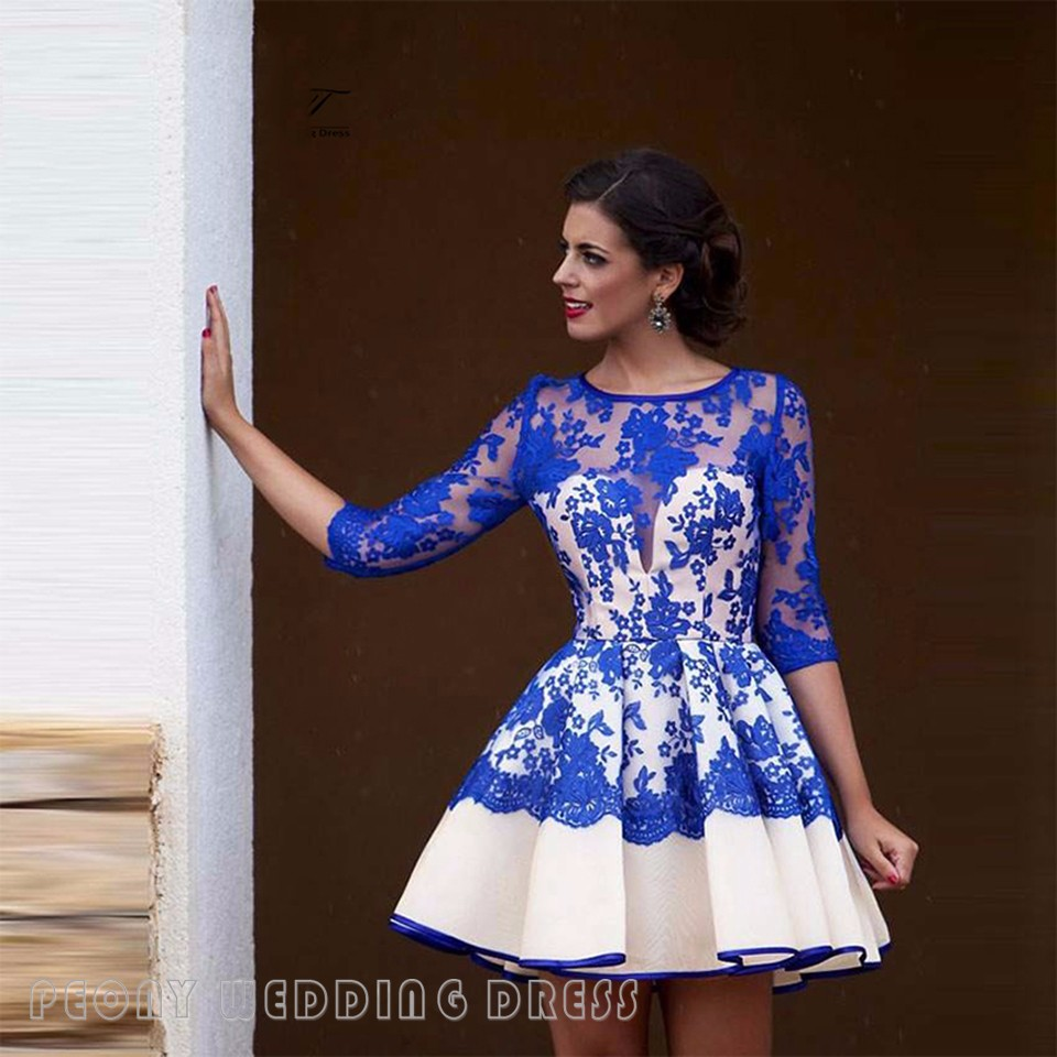 37d072aa27a50 Short Royal Blue White Lace Homecoming Dresses Sleeves See Through  Homecoming Dress 8th Grade Graduation Dress Party Gowns HC44-in Homecoming  Dresses ...