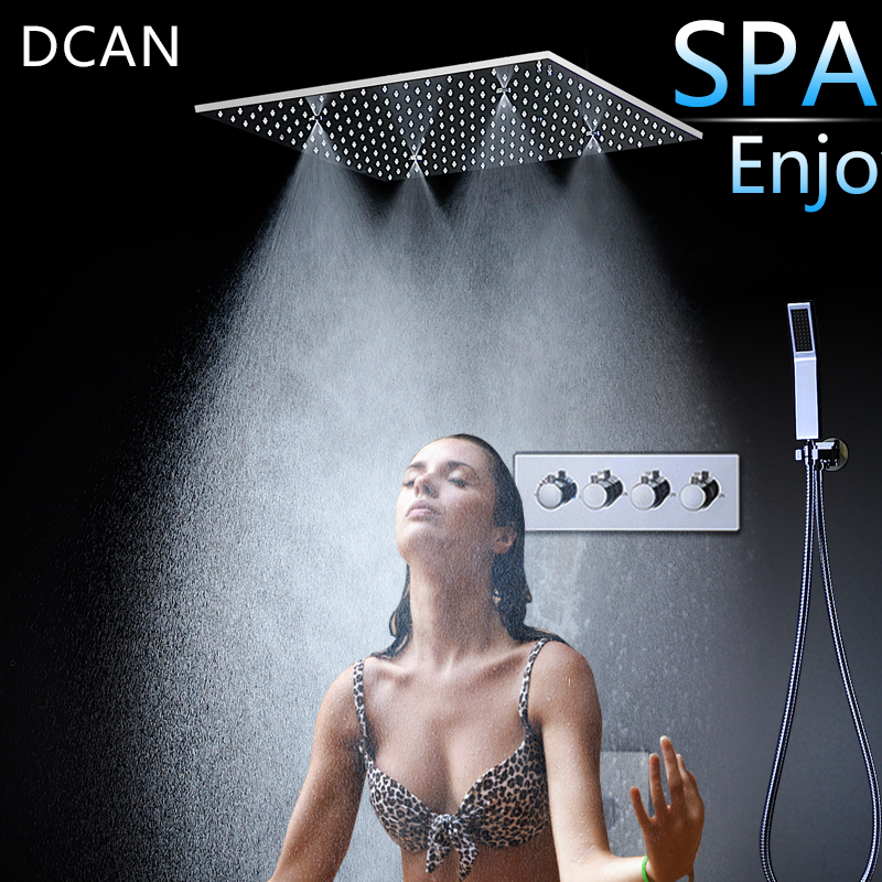 Spray SPA Thermostat Shower Set 20 Inch sky Curtain Dark Wall Into the Multi-Function Shower Nozzle 3 Outlet Hight Flow Switch afro girl waterproof shower curtain