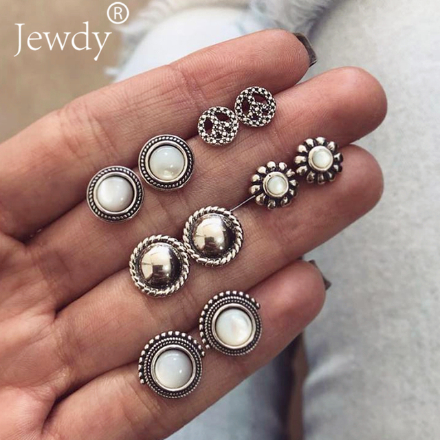 Jewdy 5 Pairs/Set Punk Brincos Mix Stud Earrings For Women Crystal Ear Studs Fashion Simulated Pearl Jewelry Wholesale 2018 new