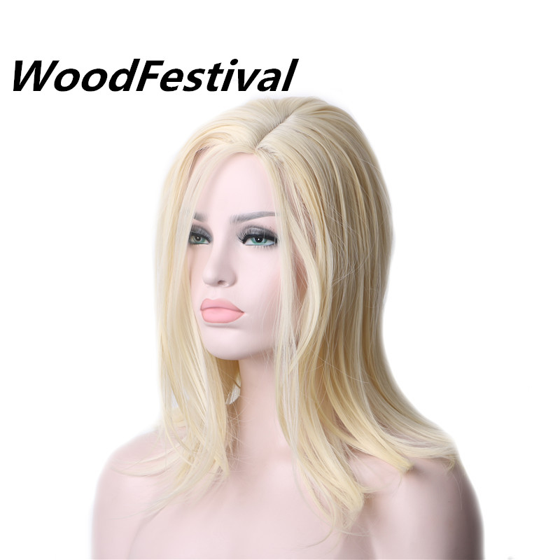 WoodFestival Heat Resistant Synthetic Blonde Cosplay Wig Short Bob Wigs For Women