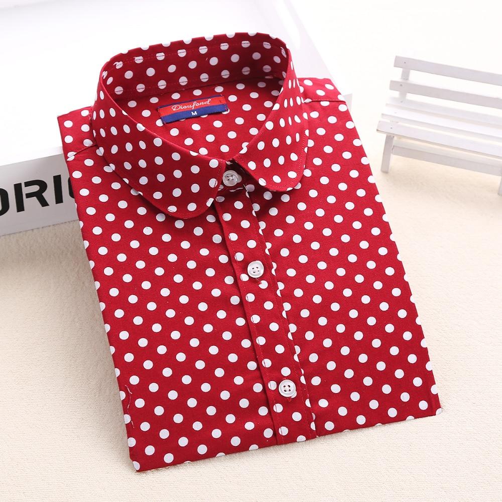 Dioufond Women's Polka Dot Cotton   Blouse     Shirt   Long Sleeve Casual Turn-down Collar 2018 New Tops Plus Size S-5XL
