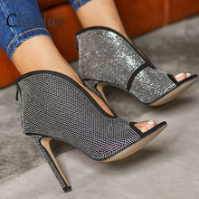 Brand hot sale zipper rhinestone stiletto high heel 11cm open toe ladies suede sandals sandals hot drilling women's shoes C1318 great mixed color multi band sandals stiletto heel high quality sexy open toe shoes summer hot selling high heel sandals on sale