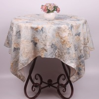 CURCYA Table Linen Luxury Small Square Table Cloth Cover for Tea Coffee Tables / Cute Vintage Tablecloth 110x110cm Light Blue