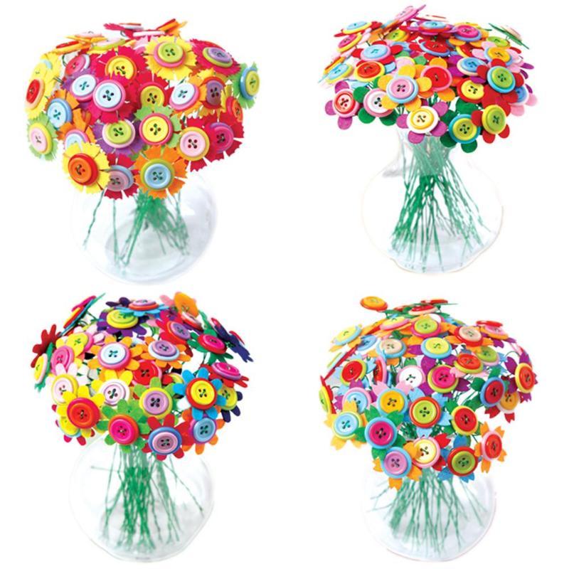 Bouquet Flowers Threading Educational-Buttons Handcraft Button-Design Creative Kids Diy