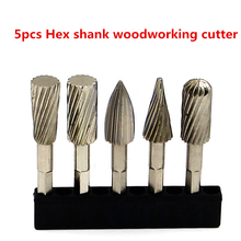 цена на 5pcs HSS Hex Shank Large Milling Cutter Carving Knives Carpentry Router Bits Fit Dremel Rotary Tools Woodworking Router Bits