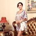 Цветочный Узор Женщины Трусы Мода Свободные Ночные Рубашки Весна Лето Осень Искусственного Шелковой Ночной Рубашке Халат Женский Пижамы