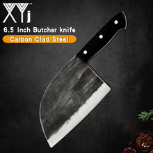 XYj Stainless Steel Butcher Kitchen Knife Handmade Forged Sharp 5mm Blade Pakawood Handle Cleaver Ax For Turkey Chicken Fish(China)